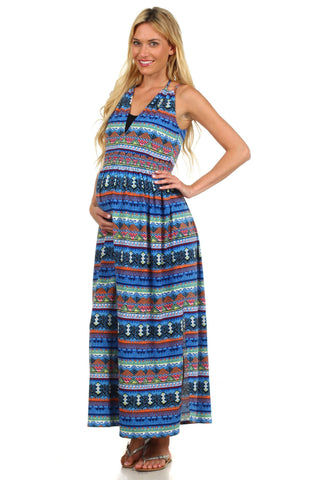 Aztec Geometric Maternity Maxi Dress - BellyMoms Maternity