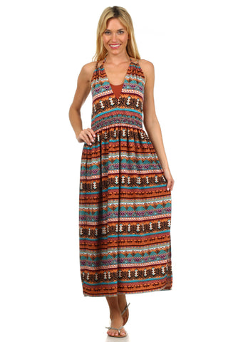 Aztec Geometric Print Maternity and Nursing Maxi Dress - BellyMoms Maternity