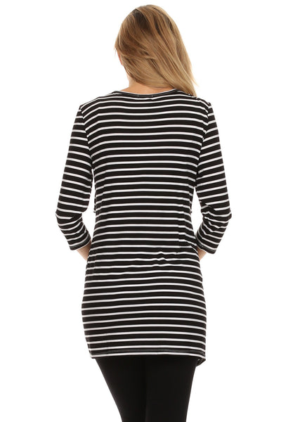 Bailey Striped Empire Nursing Tunic Top - BellyMoms Maternity