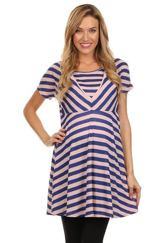 Adelaide Stripe Tunic Style Nursing Top - BellyMoms Maternity