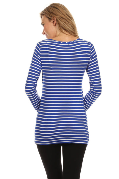 Bethany Nautical Striped Crossover Nursing Top - BellyMoms Maternity