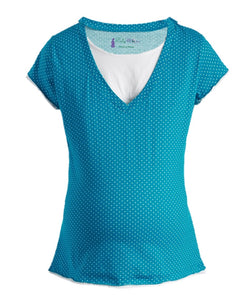 Dotted Short Sleeve Nursing Top - BellyMoms Maternity