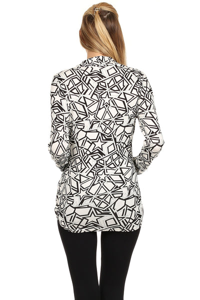 Geometric Print Surplice Neck Nursing Top - BellyMoms Maternity