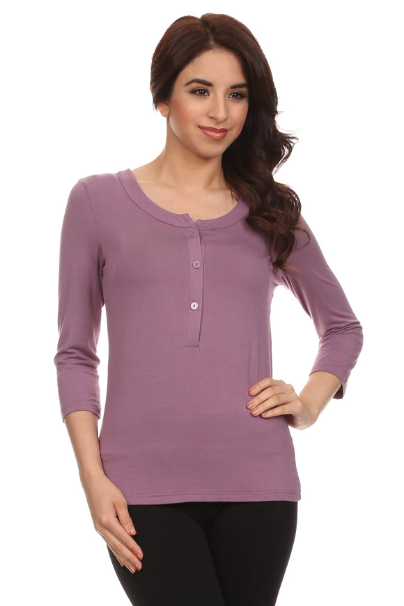 Charlotte Henley 3/4 Sleeves Nursing Top - BellyMoms Maternity