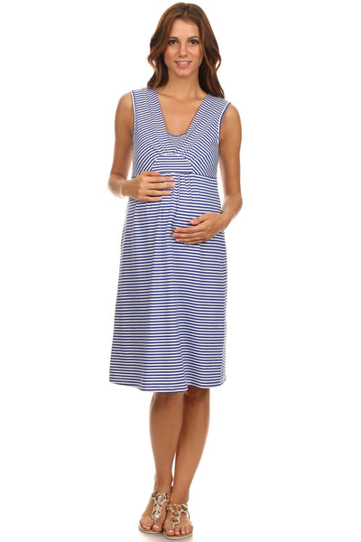 Lilly Nautical Stripe Sleeveless Maternity Dress - BellyMoms Maternity