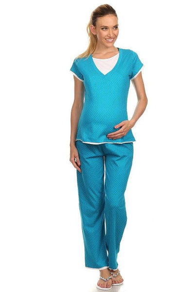 Teal Comfy Dotted 2-Piece Nursing Pajama Set - BellyMoms Maternity