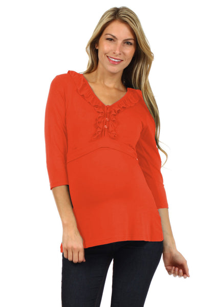 Tess 3/4 Sleeves Nursing Top - BellyMoms Maternity
