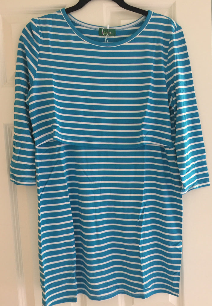 Outlet 54 - Bailey Stripe Empire Tunic Top - Blue - BellyMoms Maternity