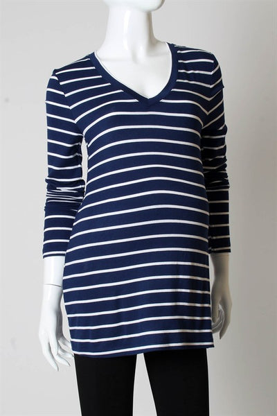 Zen Maternity Essential Stripe V-Neck Top - BellyMoms Maternity