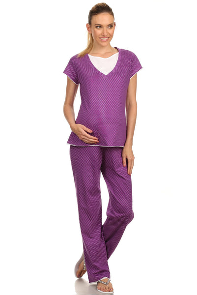 Purple Comfy Dotted Maternity Nursing Pajama Set - BellyMoms Maternity