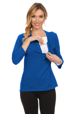 Hanna Henley 3/4 Sleeves Nursing Top - BellyMoms Maternity