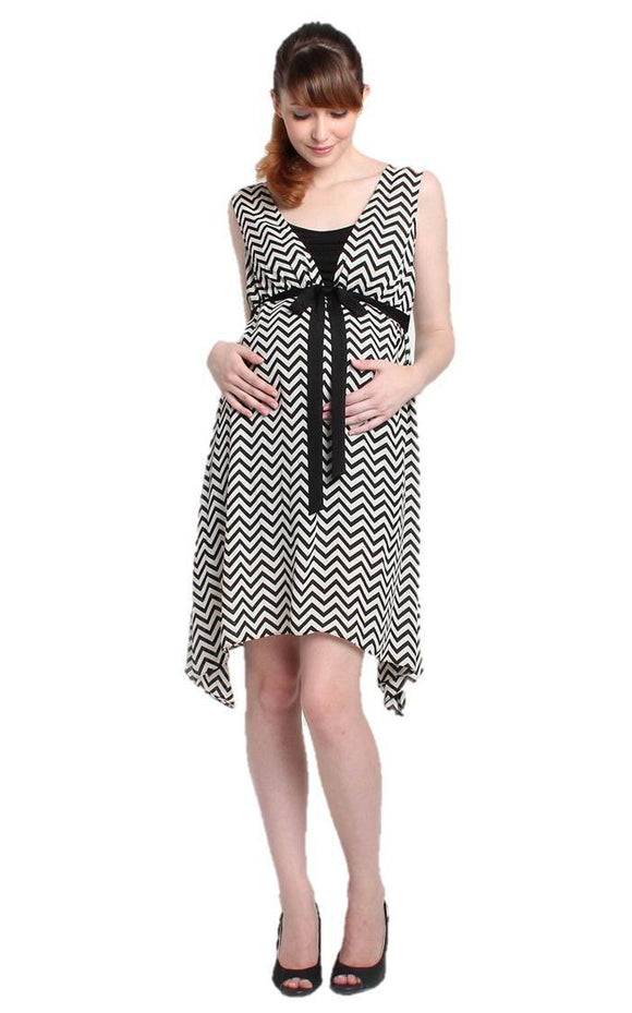Rina Asymmetric Chevron Dress - BellyMoms Maternity