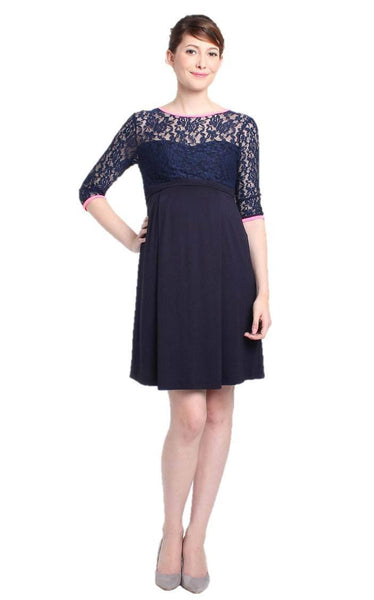Fancy Rue Lace 3/4 Sleeve Maternity and Nursing Formal Dress - BellyMoms Maternity
