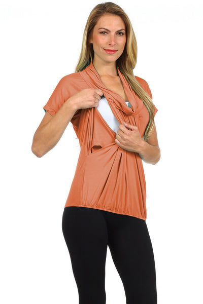 Slouchy Pleated Draped Cowl Neck Nursing Top - BellyMoms Maternity