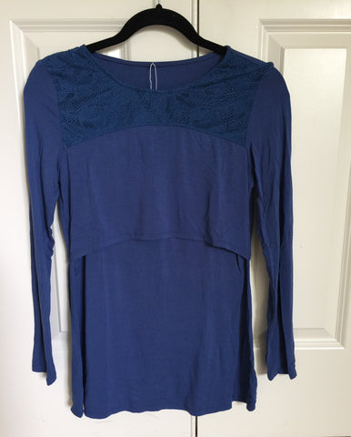 Outlet 52 - Lace Neck Embellished Long Sleeve Nursing Top - Blue - BellyMoms Maternity