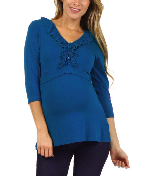 Tess Ruffle Half Sleeve Nursing Top - BellyMoms Maternity