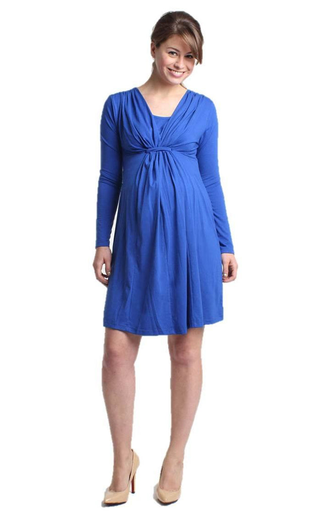 Verrin Gathered Loop Long Sleeves Nursing Dress - BellyMoms Maternity