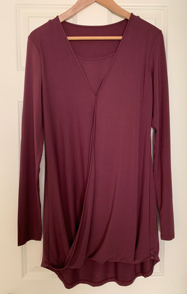 Outlet 56 - Crossover Long Sleeve High Low Nursing Shirt