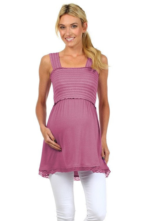 Sophia Sleeveless Empire Access Babydoll Nursing Top - BellyMoms Maternity