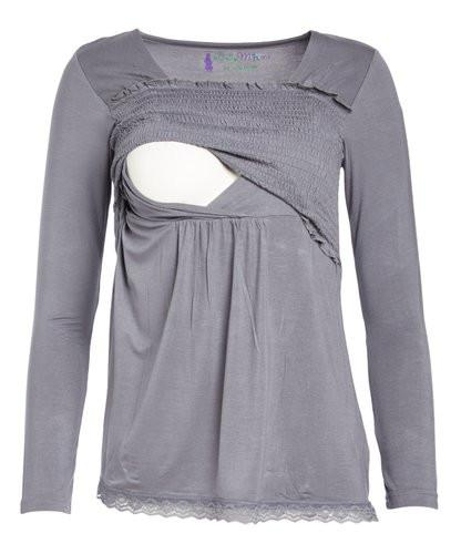 Eden Lace Trimmed Long Sleeve Nursing Top - BellyMoms Maternity