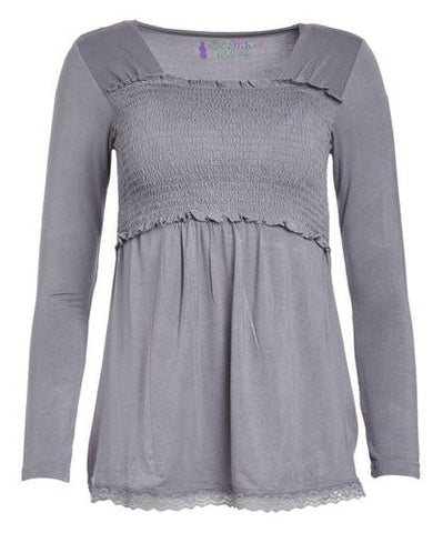 Eden Lace Trimmed Long Sleeve Nursing Top