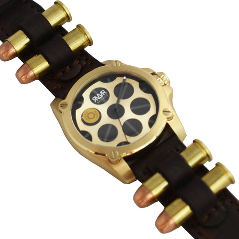 Model Q1-C.Z (GOLD) Quartz-45mm w/Bullet Straps