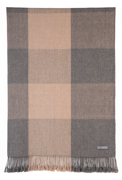 100% Alpaca Wool Plaid Blanket Throw (Beige - Grey) - Ethically Produced - Handmade - Washable - Ella Ember