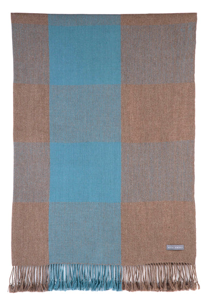 100% Alpaca Wool Plaid Blanket Throw (Mocha-Teal) - Ethically Produced - Handmade - Washable - Ella Ember