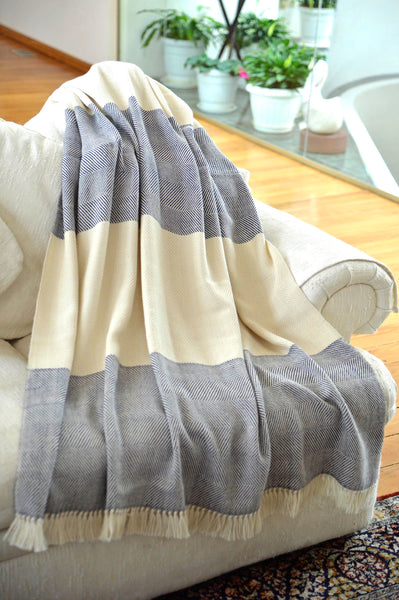 100% Alpaca Wool 2 Color Luxury Blanket Throw - Herringbone Pattern - Ethically Produced - Handmade - Washable (Ivory Navy) - Ella Ember