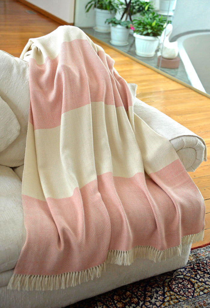 100% Alpaca Wool 2 Color Luxury Blanket Throw - Herringbone Pattern - Ethically Produced - Handmade - Washable (Ivory Coral) - Ella Ember