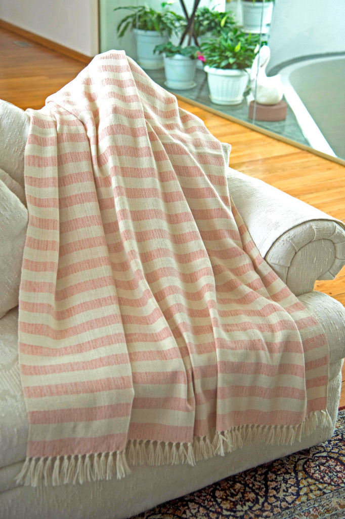 100% Alpaca Wool Luxury Striped Blanket Throw - Ethically Produced - Handmade - Washable (Ivory Coral) - Ella Ember