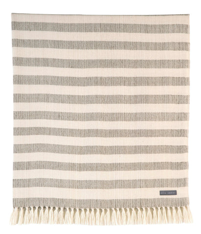 100% Alpaca Wool Luxury Striped Blanket Throw - Ethically Produced - Handmade - Washable (Ivory Mocha) - Ella Ember