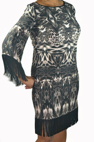R & M Richards Printed Sheath with Fringe Dress