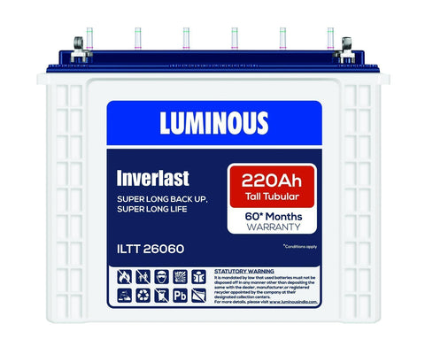 Tubular Battery - Luminous ILTT 26060 | 220Ah - 60* Months Warranty Tubular Battery