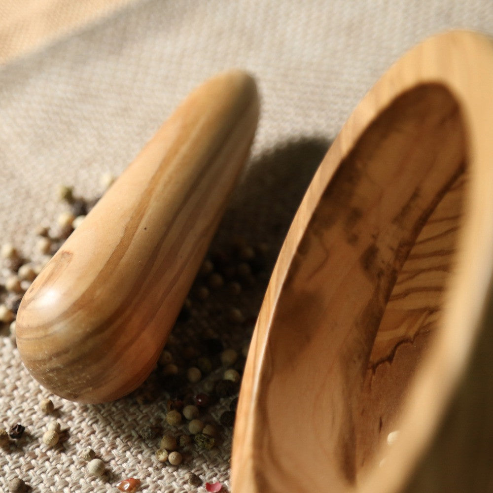 Olive mortar and pestle