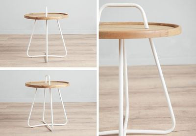 Contemporary Metal and Wooden Side Table