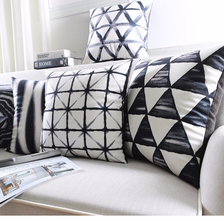 50 Shades of Black: Retro Geometric Cushion Covers