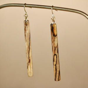 The Stick Earrings in Spalted Pecan