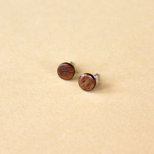 Circle Stud Earrings in Walnut