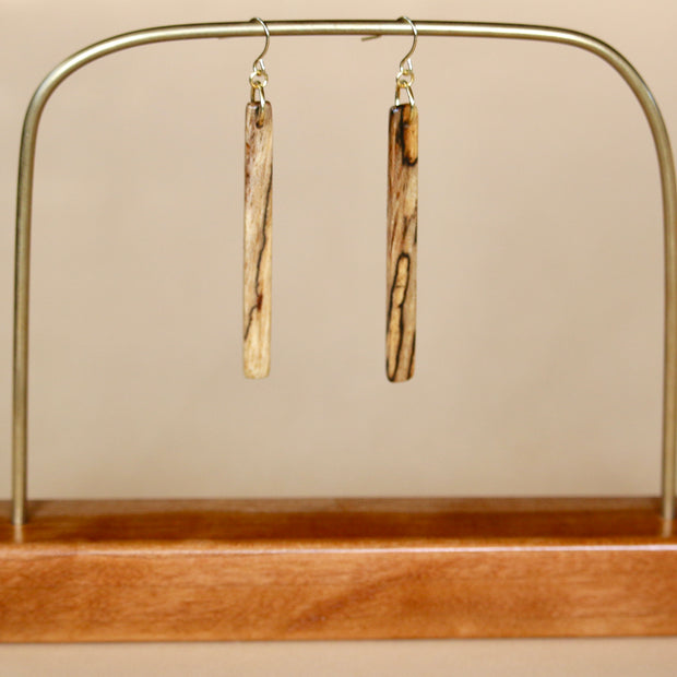 The Stick Earrings in Spalted Pecan 1