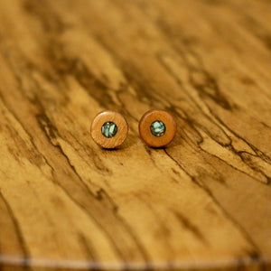 Circle Stud Earrings with Turquoise in Cherry