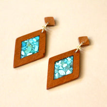 Load image into Gallery viewer, The Isabelle Earrings with Turquoise in Cherry Wood