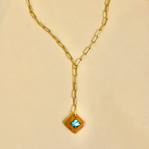 The Savannah Necklace with Turquoise in Cherry