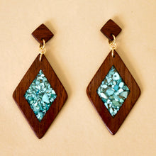 Load image into Gallery viewer, The Isabelle Earrings with Turquoise in Walnut Wood