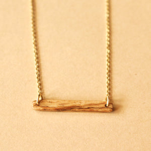 The Stick Necklace in Spalted Pecan