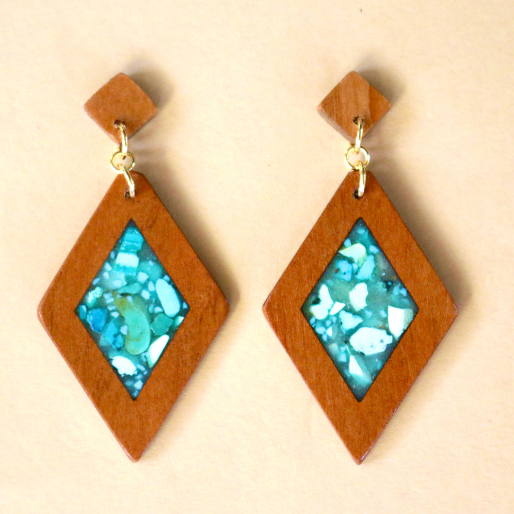 The Isabelle Earrings with Turquoise in Cherry Wood