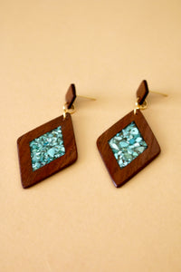 The Isabelle Earrings with Turquoise in Walnut Wood
