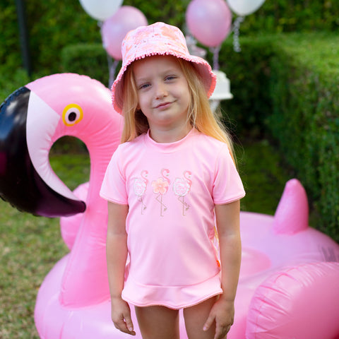 pink flamingo sunvest set for girls