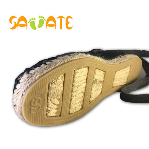 Comfort shoes for women - Espadrilles sewn black with grey laces - Savate