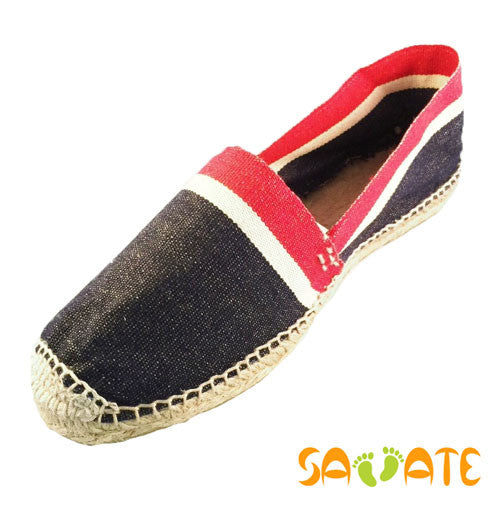 Espadrilles for mens - Blue With White And Red  Stripes - Savate
